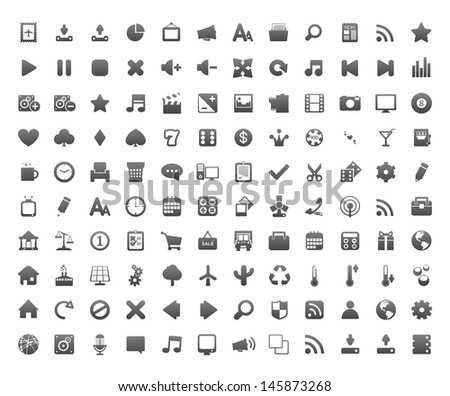 120 icons for your application. - stock photo