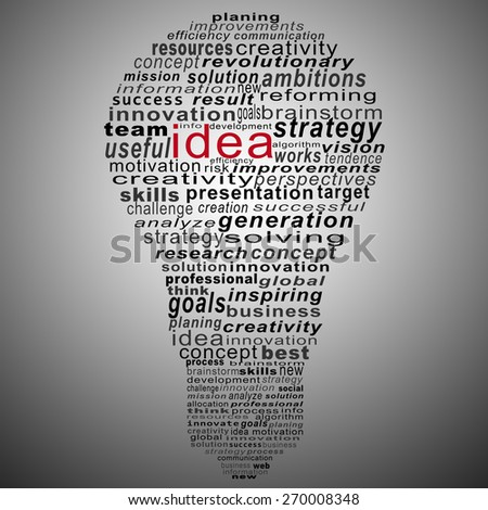 idea text collage Composed in the shape of bulb on gray background - stock photo