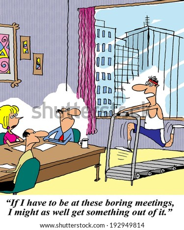 """If I have to be at these boring meetings I might as well get something out of it."" - stock photo"