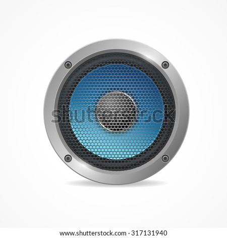 illustration Audio Speaker with grid isolated on white background.