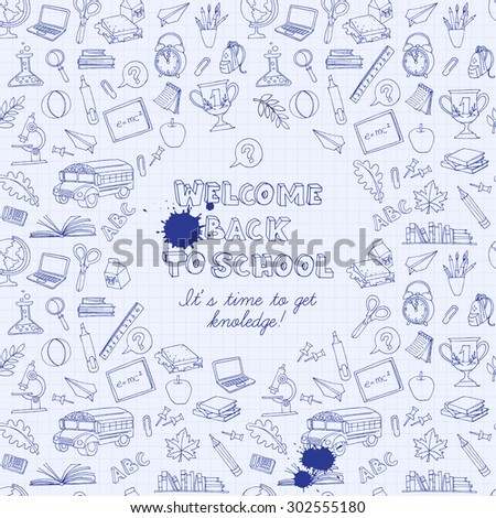 illustration Back to school greeting card of kids doodles with bus, books, computer, blackboard and world map on notebook grid sheet - stock photo