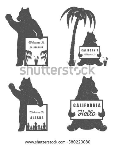 Illustration Bear Sign Welcome California Alaska Stock Illustration