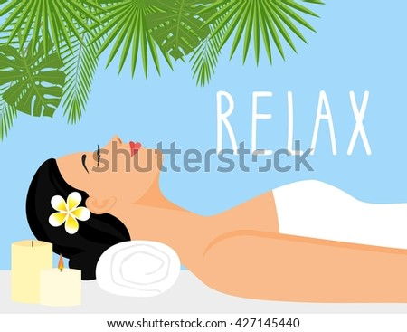 illustration beautiful woman in spa environment. woman relaxing in wellness and spa salon - stock photo