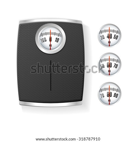 illustration Black  Bathroom Scale isolated on a white background. The concept of control of body - stock photo