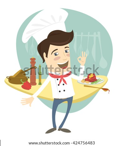 illustration Funny chef standing in the kitchen showing OK-sign