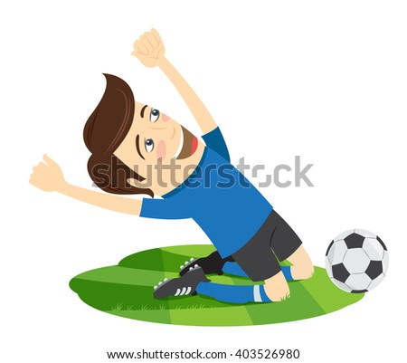 illustration Funny soccer football player wearing blue t-shirt enjoying the victory on his knees - stock photo