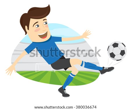 illustration Funny soccer football player wearing blue t-shirt running kicking a ball and smiling on stadium