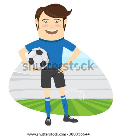 illustration Funny soccer football player wearing blue t-shirt standing holding ball and smiling - stock photo