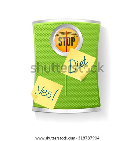 illustration Green Bathroom Scale isolated on a white background. The concept of weight loss and diet - stock photo