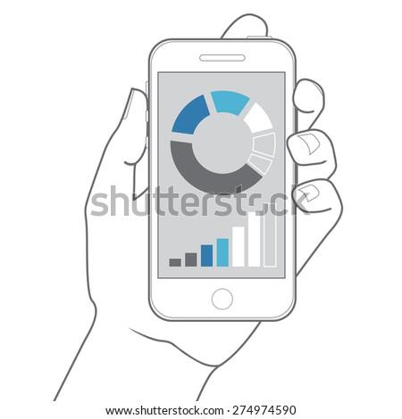 illustration hand holding smartphone.  flat design. - stock photo