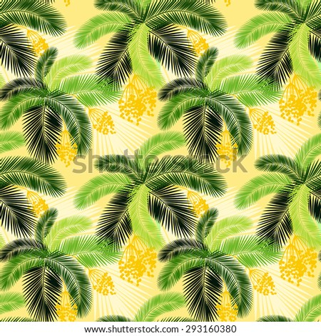illustration  illustration Seamless color palm leaves and fruit pattern