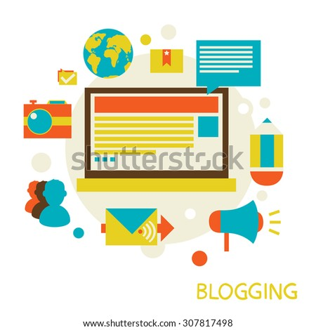 illustration in a flat style. Blogging and commenting.  - stock photo