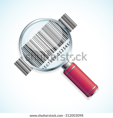 illustration magnifier and barcode isolated on a white background. Business Symbol  - stock photo