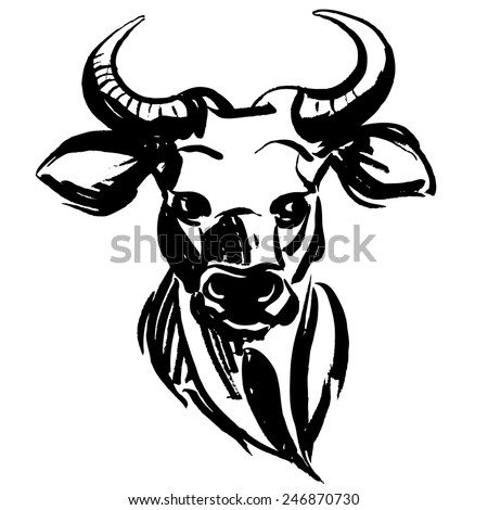 illustration Marker hand-drawn forest animals: bull - stock photo