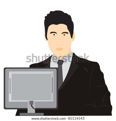 Illustration men for computer on white background