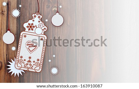 illustration of a christmas card with speed dating sign in front of a wooden background with gradient to white