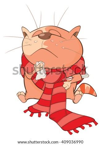 Illustration of a Cute Cat. Cartoon Character - stock photo