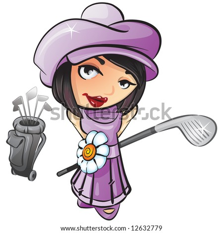 illustration of a french girl with a golf club ready to play golf. - stock photo