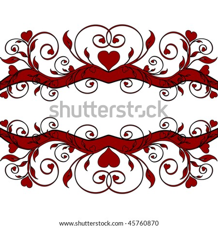 illustration of a red floral border with hearts. raster copy.  it has a vector format in my portfolio