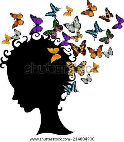 illustration of abstract young girl face silhouette in profile with butterfly - stock photo