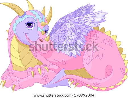 Illustration of Beautiful Cartoon  lady Dragon. Raster version - stock photo