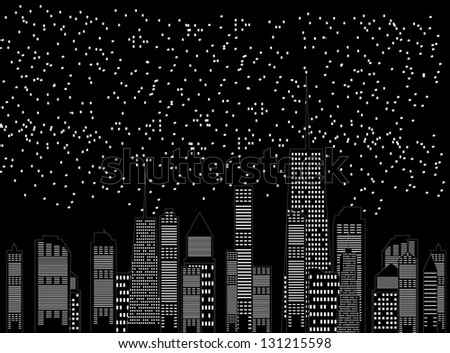 illustration of cities silhouette - stock photo
