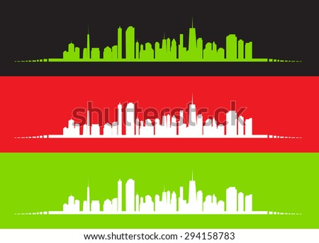 illustration of cities silhouette