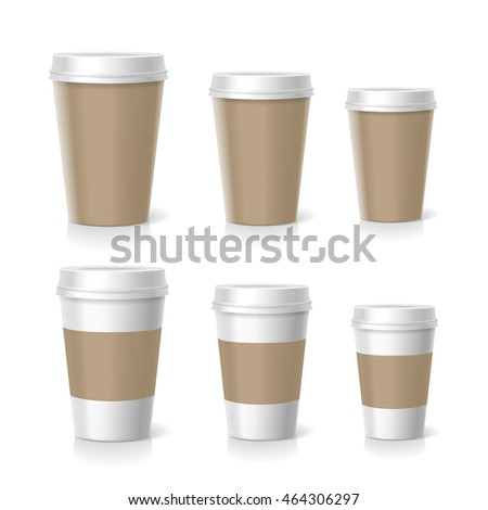 illustration of coffee cups set, isolated