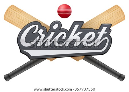 illustration of cricket leather ball and wooden bats. Symbol of sports. Isolated on white background. - stock photo