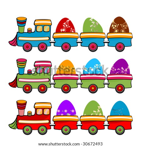illustration of cute retro color train with funny Easter Eggs - stock photo