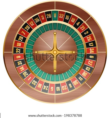 illustration of detailed casino roulette wheel - stock photo