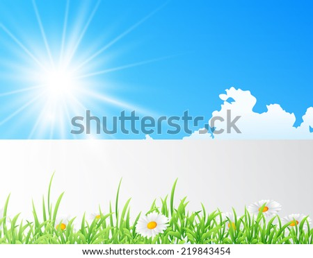 illustration of field of daisies with bright sun - stock photo