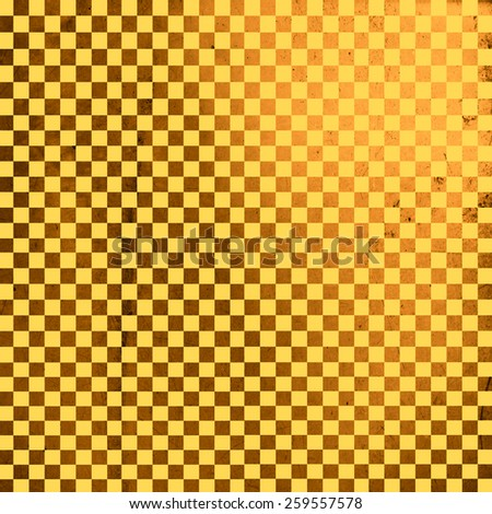 Illustration of gold grunge checker board, abstract background - stock photo