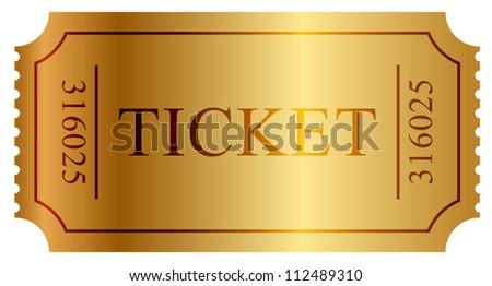 illustration of gold ticket - stock photo