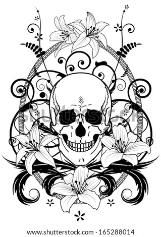 illustration of lily and skull in black and white colors - stock photo