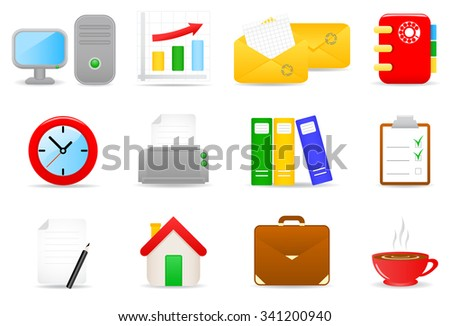 illustration of office icons