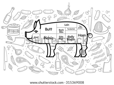 illustration of pork vegetables image, bread, drinks and cooking tools.