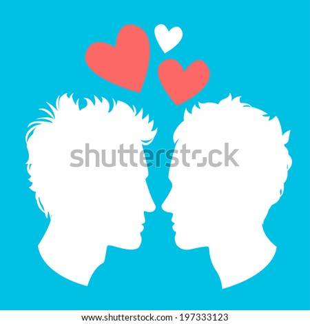 Illustration of Profiles of two men homosexual couple