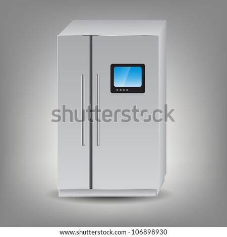 illustration of refrigerator icon. Raster version - stock photo
