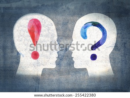 Illustration of two people with different thoughts and emotions