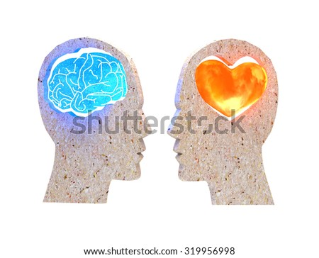 Illustration of two people with different thoughts and emotions - stock photo