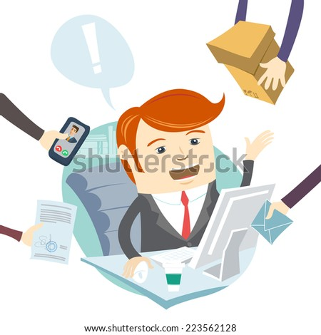Illustration of  Very busy office man working hard - stock photo