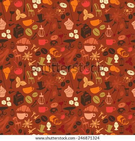 illustration Seamless coffee pattern with latte, cappuccino, pies, donuts,  croissants, cups, glasses and other cafe objects - stock photo