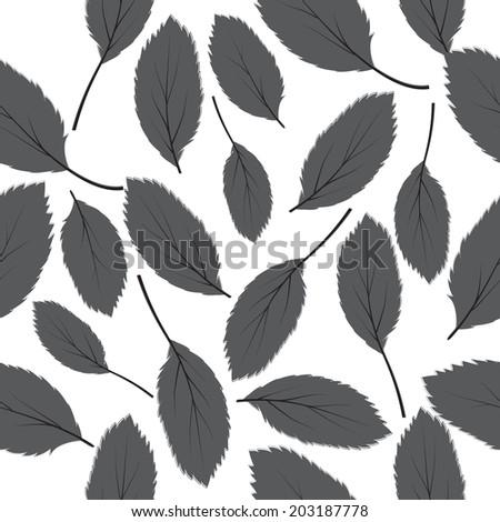 illustration seamless pattern grey leaves on white background - stock photo