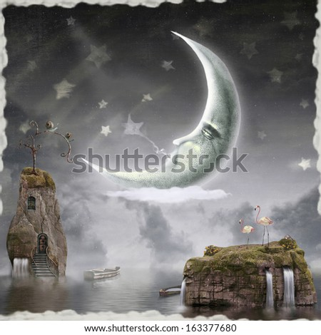Illustration shows a moon in sky