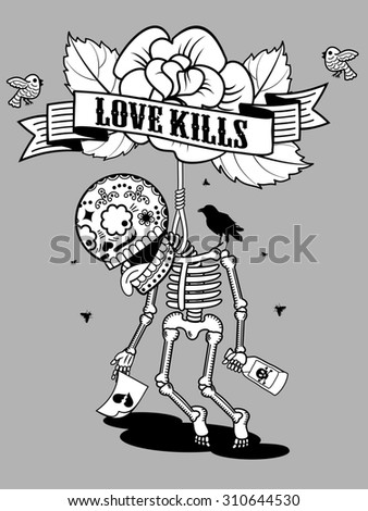 illustration - skeleton suicide, drunk from unrequited love and of despair climbed into the loop  - stock photo