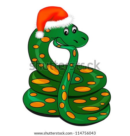 illustration snake in holiday new year's hat