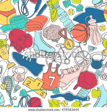 illustration Sport, fitness, functional training bright colorful background seamless hand drawn doodle style design pattern. Winter, summer and gym sport objects: workout, cross fit, yoga