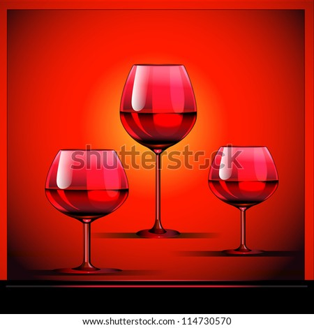 illustration three goblets with wine on bright background