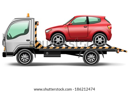 illustration tow truck loaded up the car - stock photo